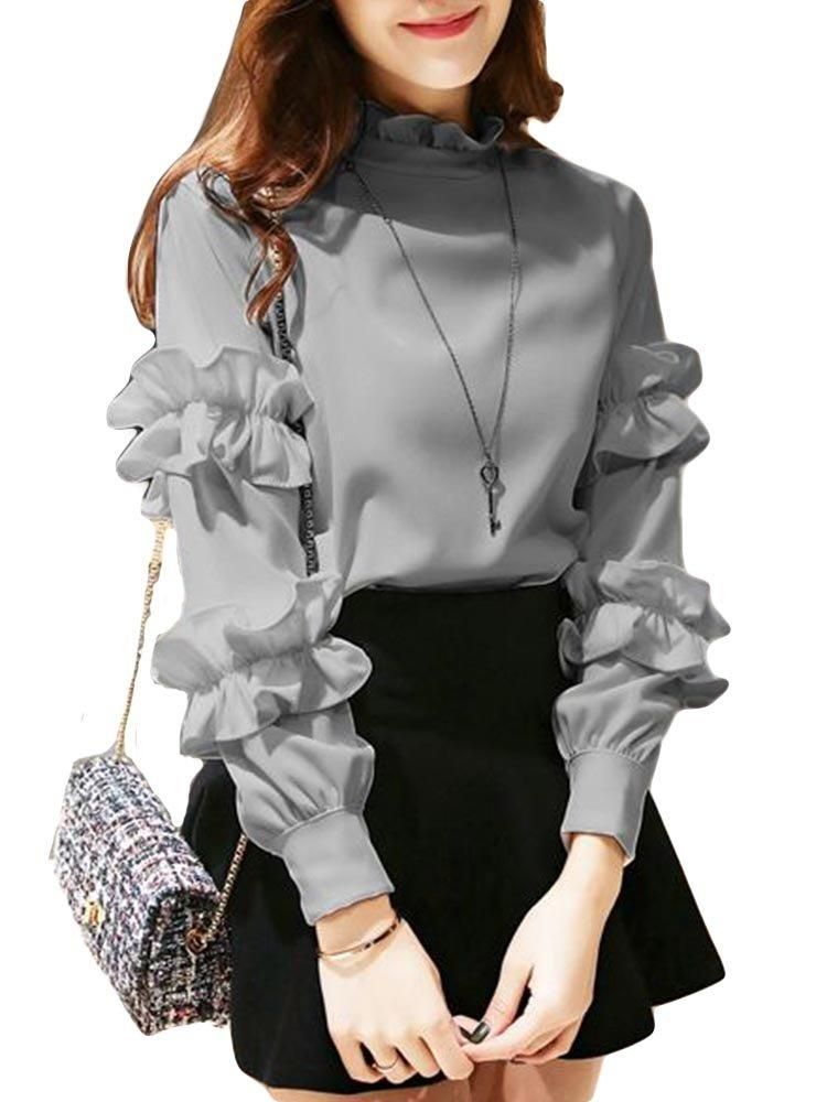 Ruffles Long Sleeve Blouses