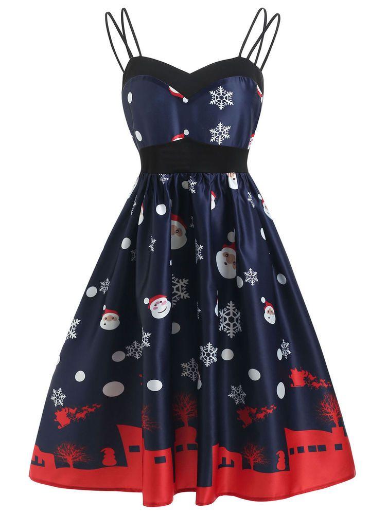 DenimDress Christmas Vintage Printed A Line Dress Women Sleeveless