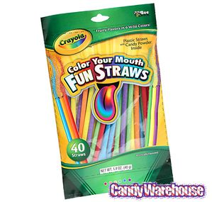 Color Your Mouth Candy Powder Filled Straws 12 Piece Display