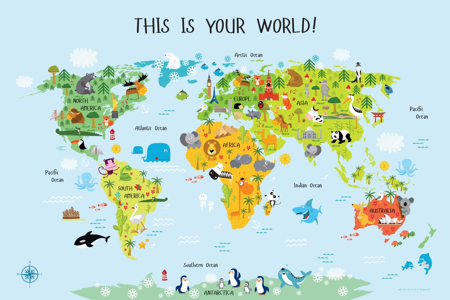 World map for kids instant download nursery decor high resolution world map for kids instant download nursery decor high resolution size up to 36x54 unique baby gift playroom art printable gumiabroncs Image collections