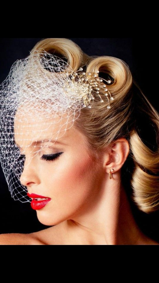 White Vail Wedding Makeup Vintage Vintage Wedding Hair Retro Wedding Hair