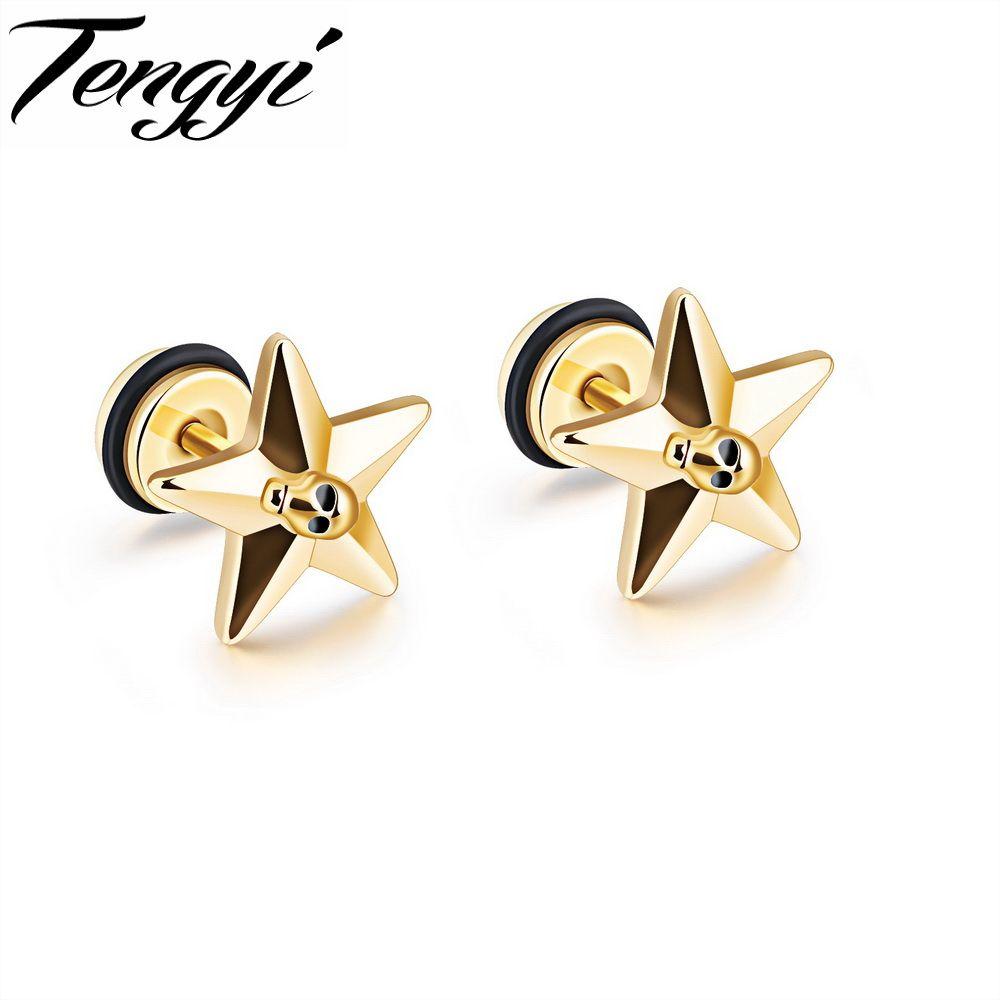 TENGYI Simple Star Design Studs Earrings For Women Men Punk Style ...