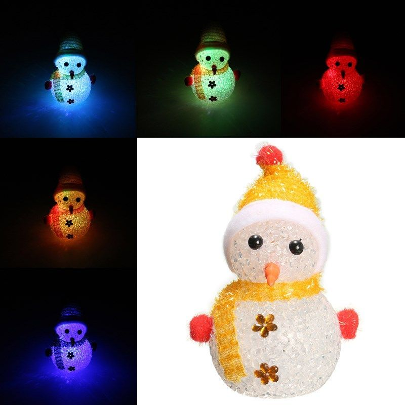 Color Changing Christmas Crystal Snowman LED Night Light Xmas Party