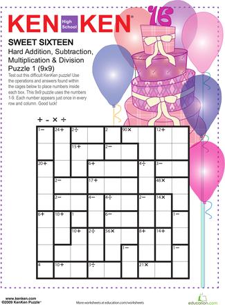 photograph about Printable Kenken Puzzles 9x9 named KenKen Printable: Cute 16 Math Entertaining math