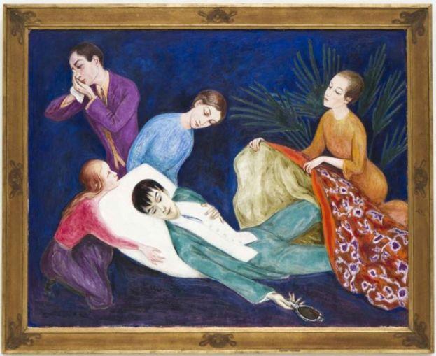 Knald på farvehjulet samt en dandy, der enten dør eller fødes af et tæppe. Dardels kunst var Queer langt før tid. Den döende dandyn, Nils Dardel, 1918. (Foto: Terje Östling)