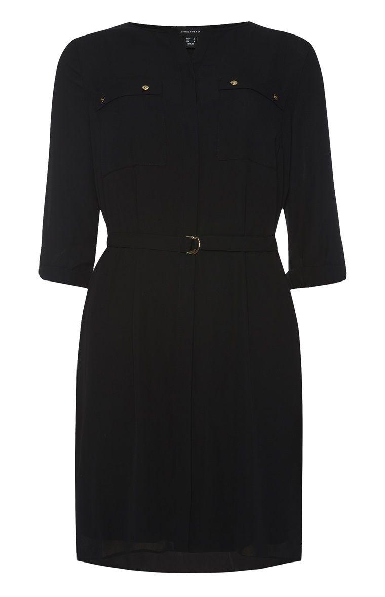 schwarzes hemdkleid im militär-stil | hemdkleid, oberhemden