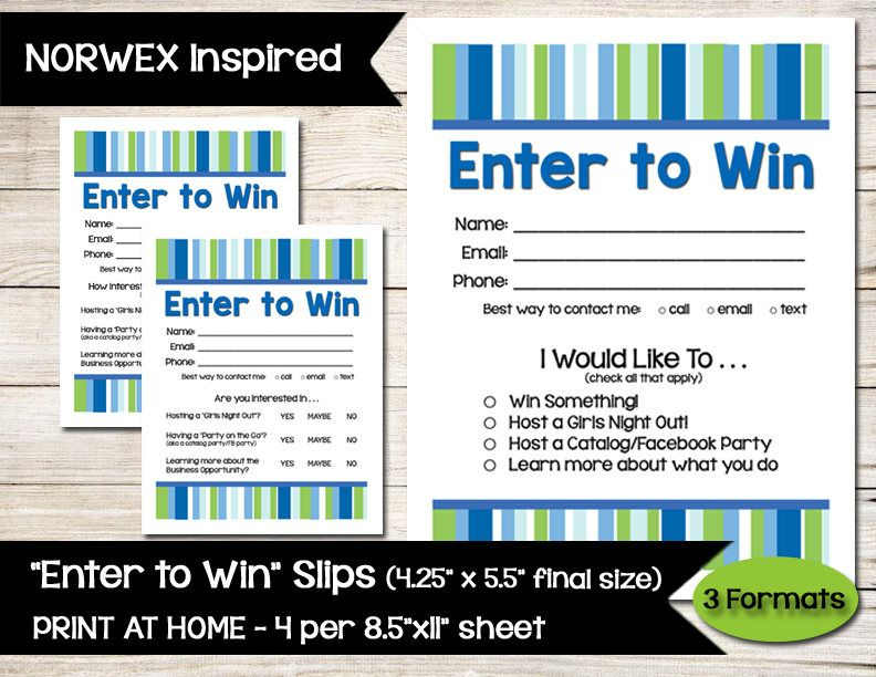 Norwex Inspired  Enter To Win  Door Prize  Drawing Slip