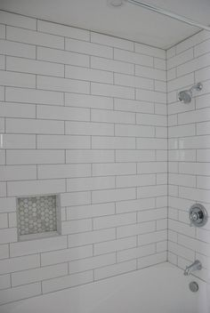 Shower Niche Beveled Subway Tile Would Put Basketweave From The Floor In The Inset Bathroom Idea White Subway Tile Shower Shower Tile White Bathroom Tiles