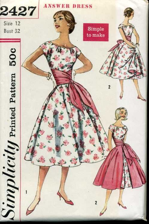 Simplicity 2427 A Vintage Dress Patterns Pattern Fashion Vintage Fashion