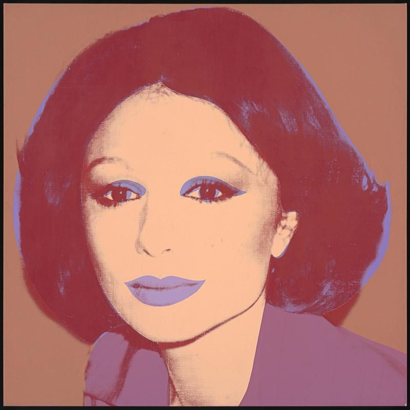 Andy Warhol Farah Diba Pahlavi, 1976 Acrylic and silkscreen ink on linen 40 x 40 in. (102 x 102 cm) Hall Collection © The Andy Warhol Foundation for the Visual Arts, Inc.