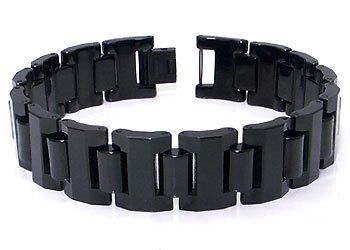 Black Tungsten Carbide 16mm Men S Link Bracelet Length 7 11