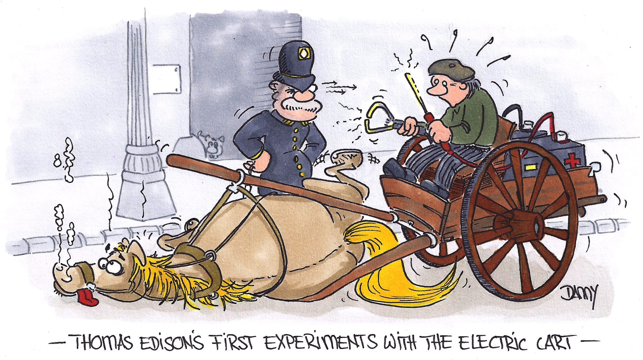 Thomas Edison invented the first electric cart. Electric