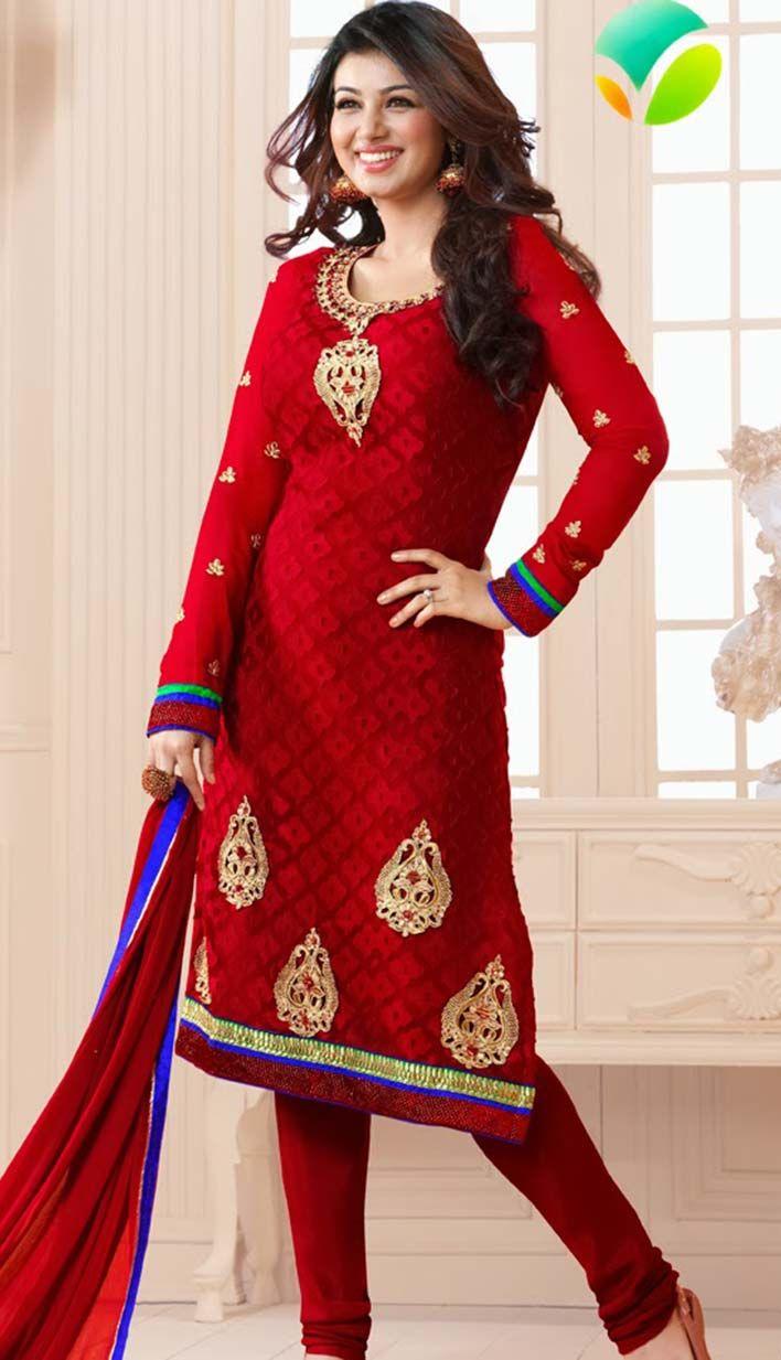 Efello Online Salwar Kameez Sarees Indian Designer: Buy Latest Beautiful Indian Red Brasso Churidar Kameez