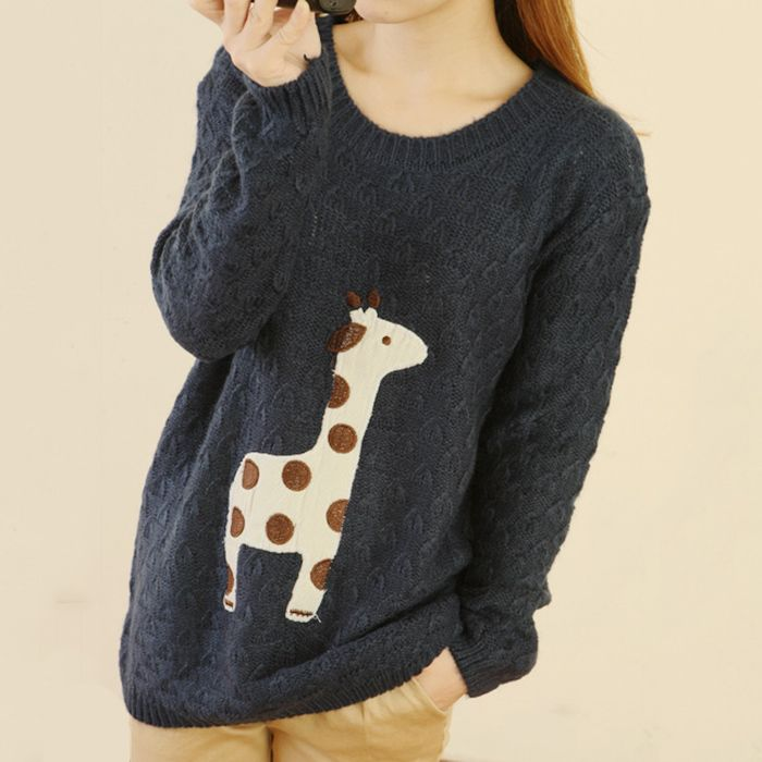 Cute Giraffe Embroidery Cloth Pullover Sweater Blue | Fun Ideas ...