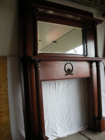 Antique Mahogany Fireplace Mantle With Beveled Mirror Fireplace Mantle Mantle Decor Vintage Mantle