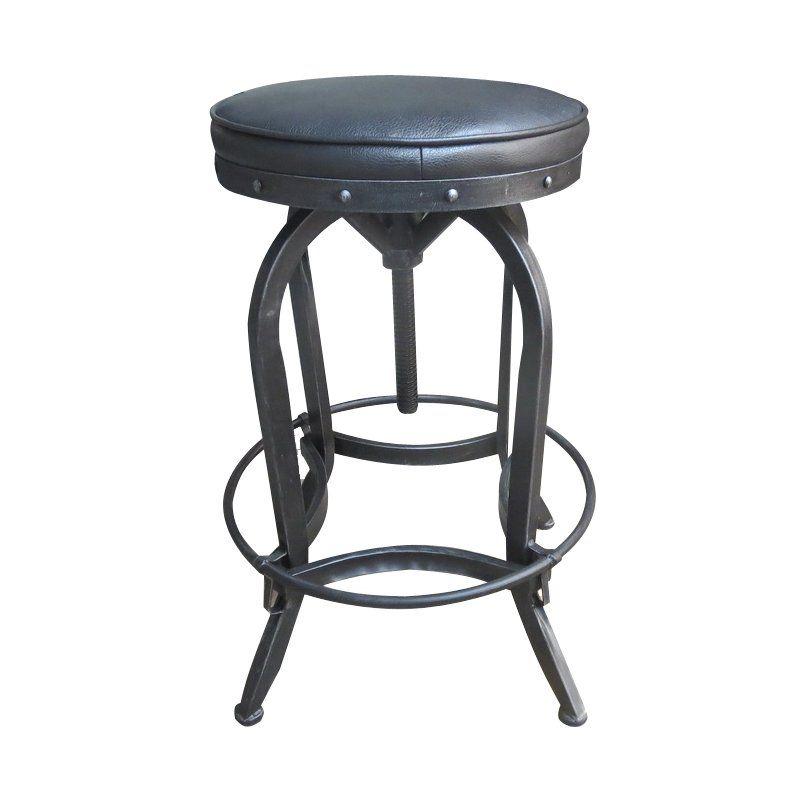 Gustavo adjustable height swivel bar stool iron bar