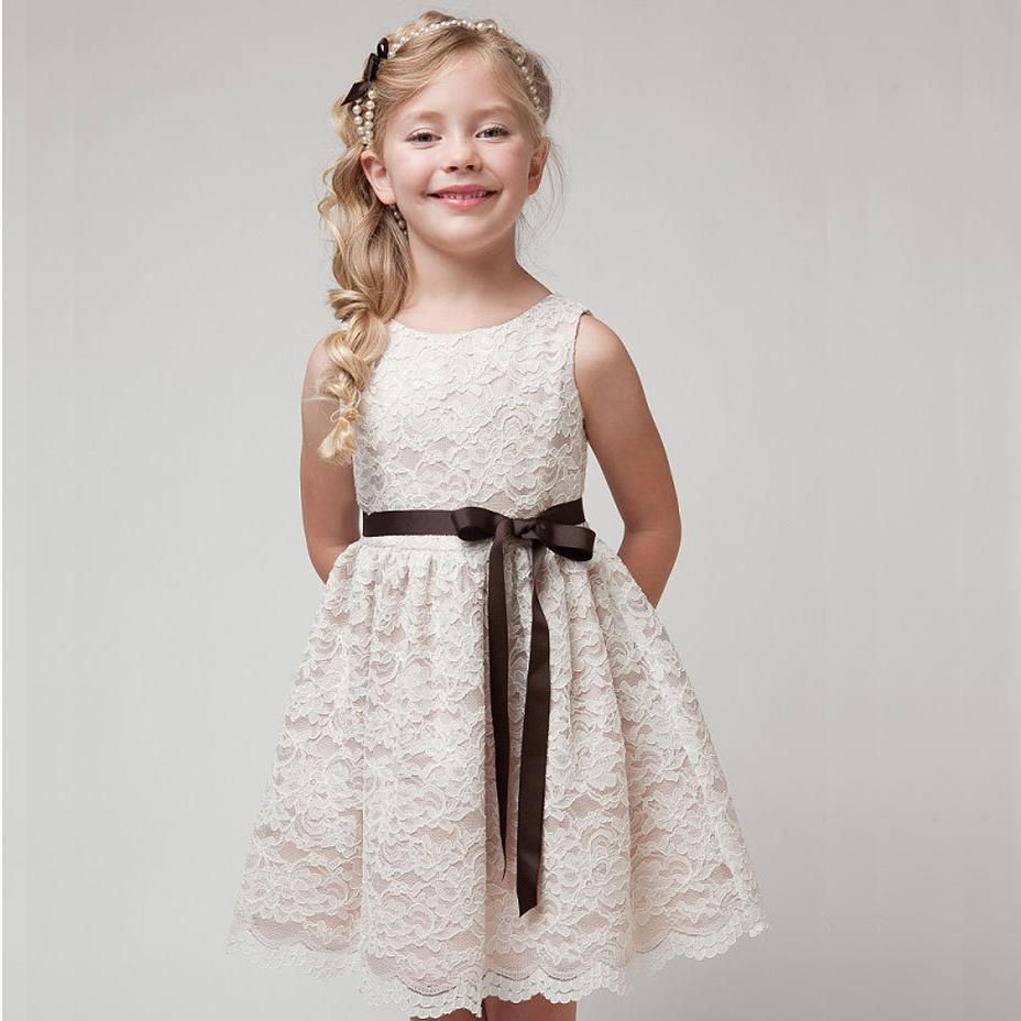 2017 SUMMER NEW Children Clothes Girls Beautiful Lace Dress Quality White Baby Teenager Kids