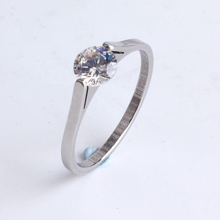 1 MM di larghezza clip in argento zircone 316l Dell'acciaio Inossidabile anelli di barretta per le donne all'ingrosso