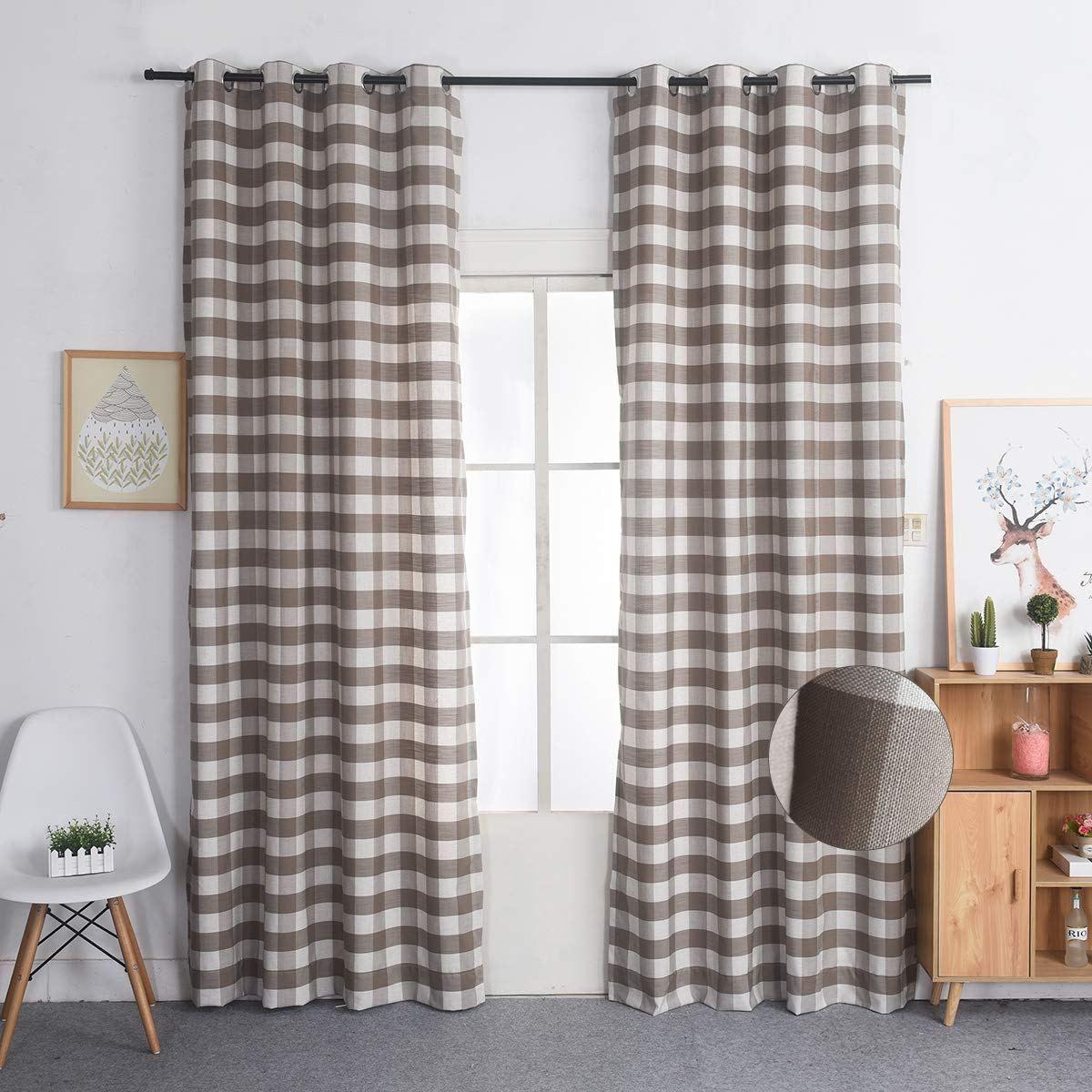 Nauxcen 100 Cotton Plaid Curtains 52 X 63 Inch 2 Panels Brown
