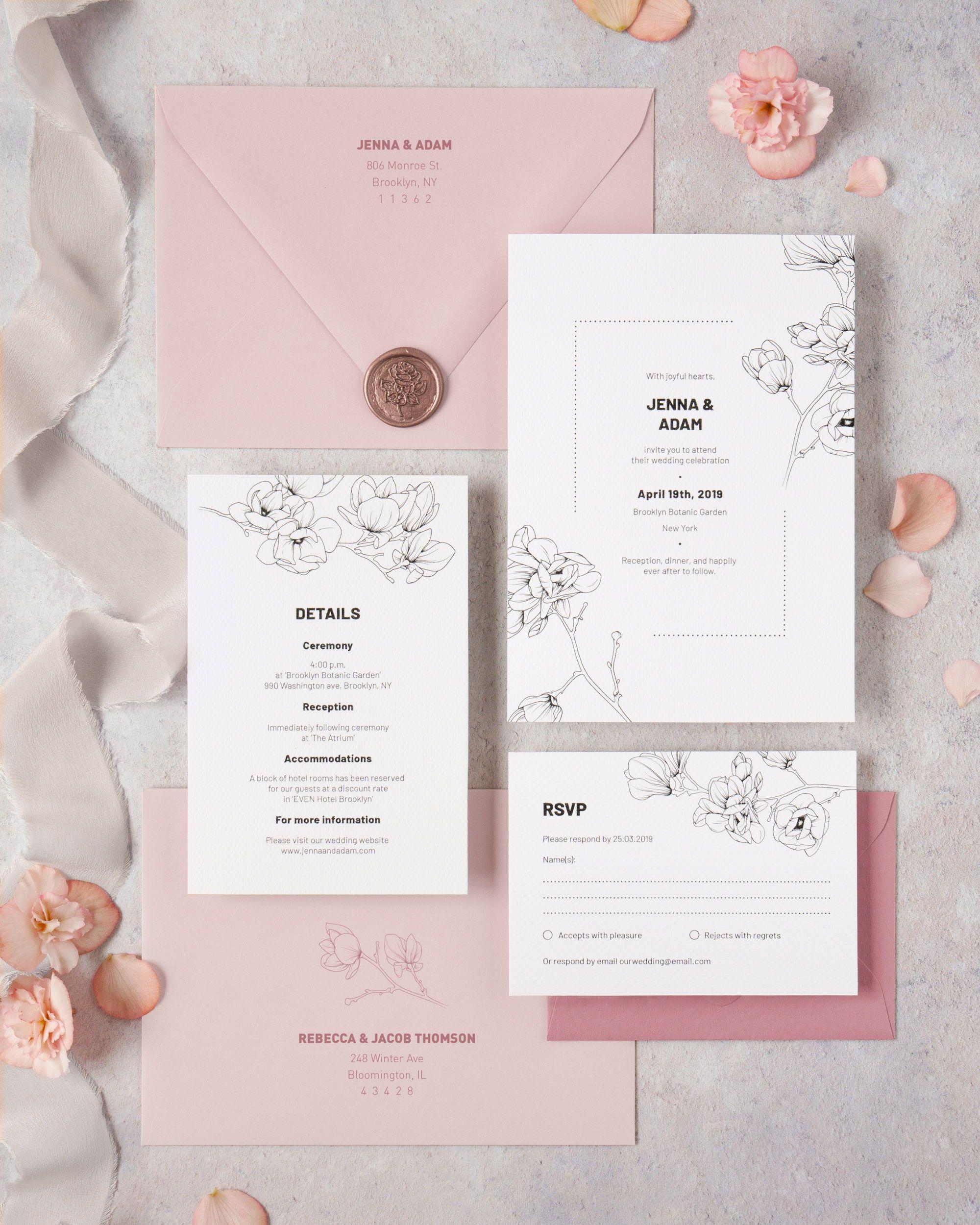Wedding Invitations With Magnolia Flowers Wedding Invitations Spring Wedding Favors Wedding Invitation Design