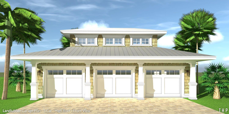 Best Landlubber Garage Plan 3 Car High Roof Beach House 400 x 300