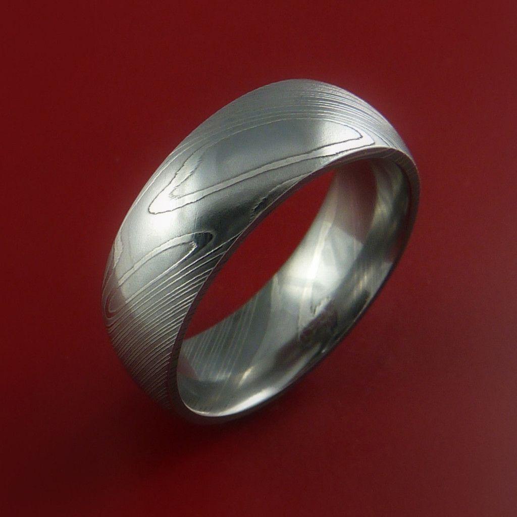 damascus steel ring wedding band genuine craftsmanship - Damascus Wedding Ring