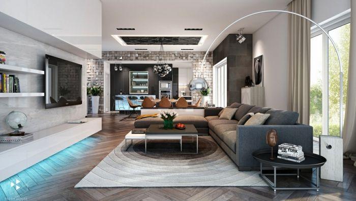 sofa grau cooler teppich wohnwand runder beistelltisch wohnzimmer - wohnzimmer einrichten grau schwarz