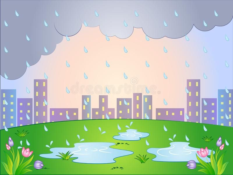 Vector Cartoon Illustration Of A Rainy Day Royalty Free Illustration Cartoon Illustration Cartoon Background Cartoon
