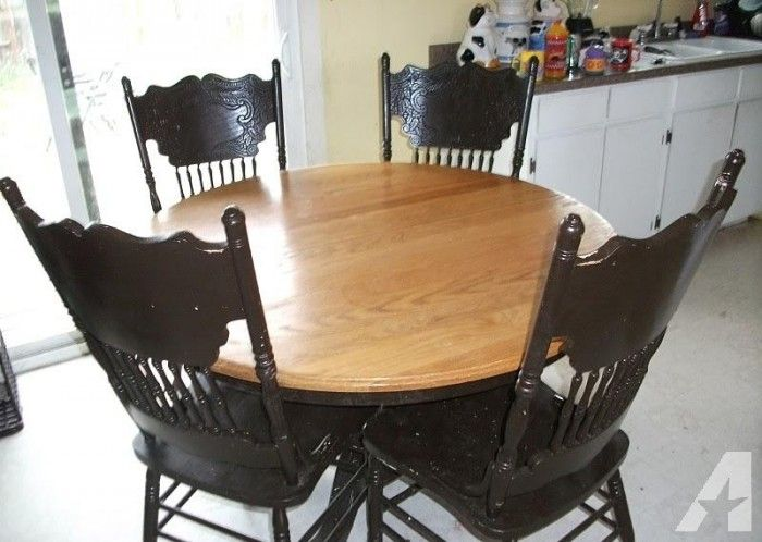 Solid Oak Dining Table W/Leaf And 4 Press Back Chairs