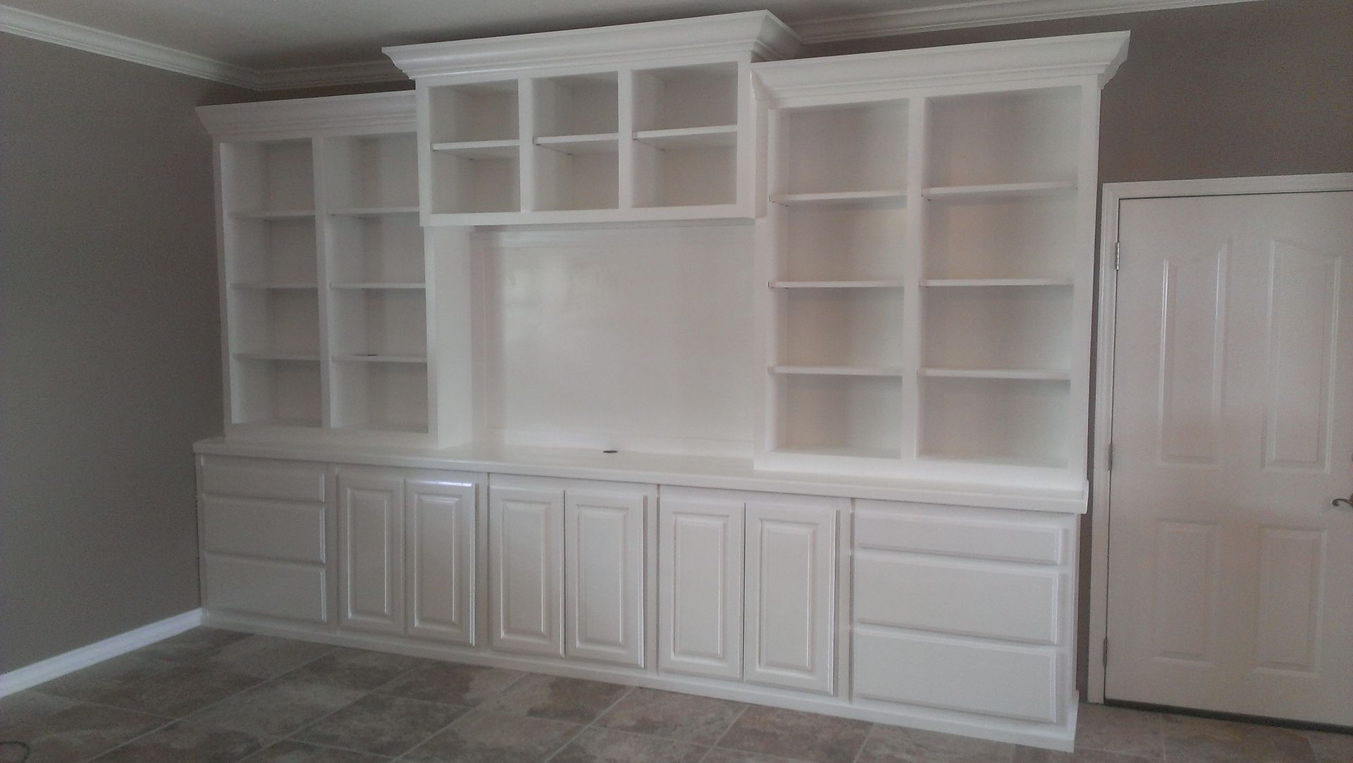 Custom Made Large White Wall Unit Built In Wall Shelves Built
