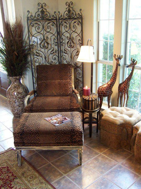 Interior design · Safari Home Decorating Ideas | Unique living room  decorating theme with animal print chair ... - 21 Marvelous African Inspired Interior Design Ideas Print