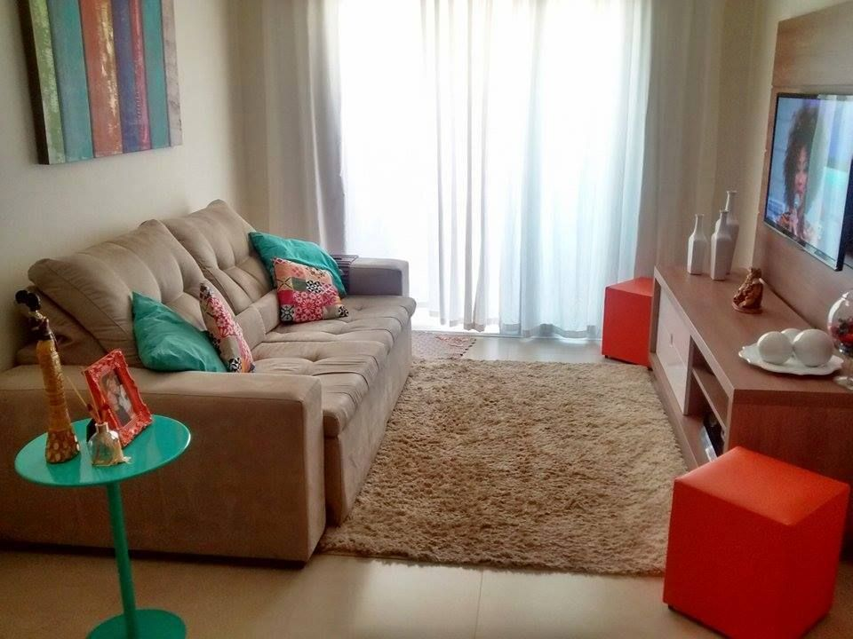 Decora o de sala pequena tend ncias 2017 simples barata for Sala de estar blanca