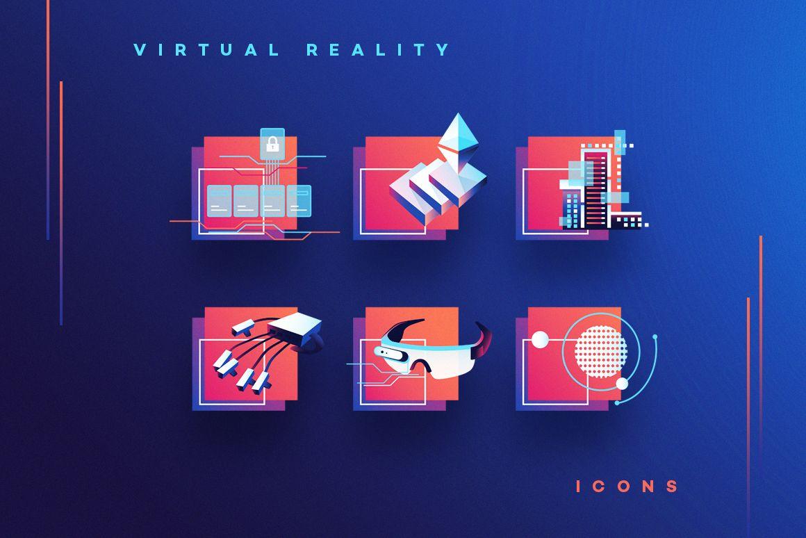 Vr Icons And Typography Virtual Reality Graphics Set Polar Vectors Virtual Reality Design Web App Design Virtual Reality