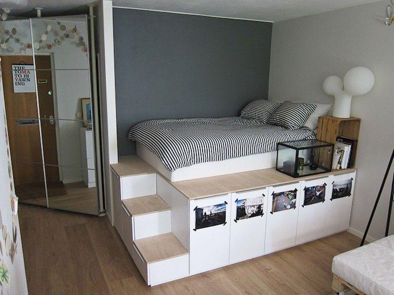 62 Stunning Ikea Hacks Decorate Bedroom On A Budget Bed Frame With Storage Diy Platform Bed Platform Bed With Storage High bed frame with storage