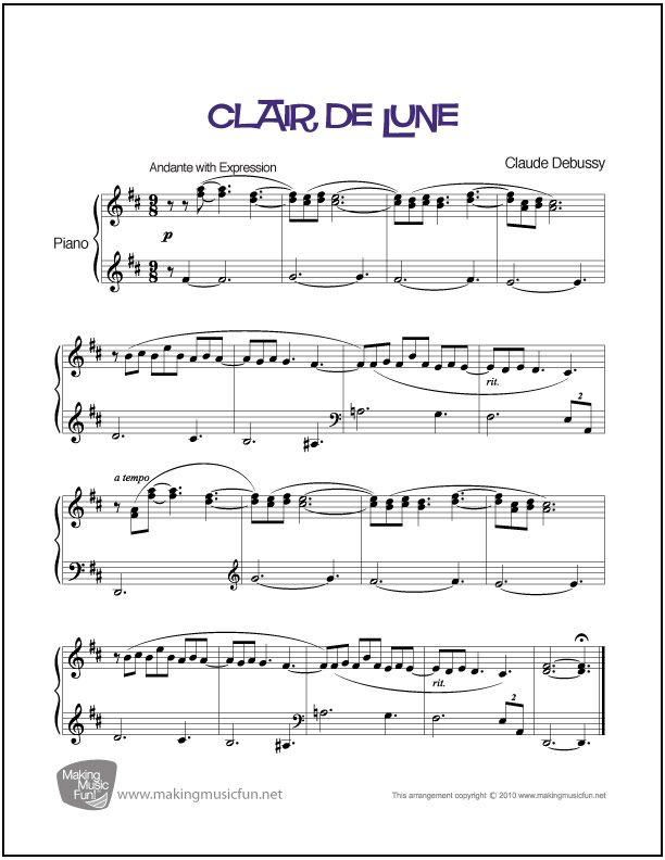 Piano free piano sheet music clair de lune : Clair de Lune (Debussy) | Sheet Music for Piano (Digital Print ...