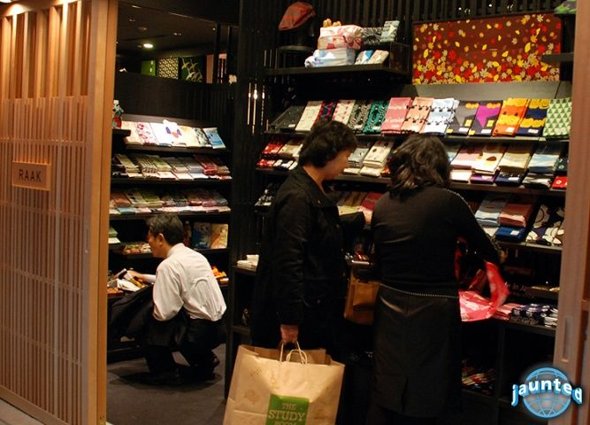 An entire store is dedicated to furoshiki Tokyo Heneda Airport Int Trem