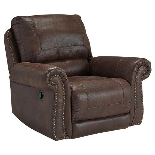 Breville Faux Leather Rocker Recliner With Rolled Arms And