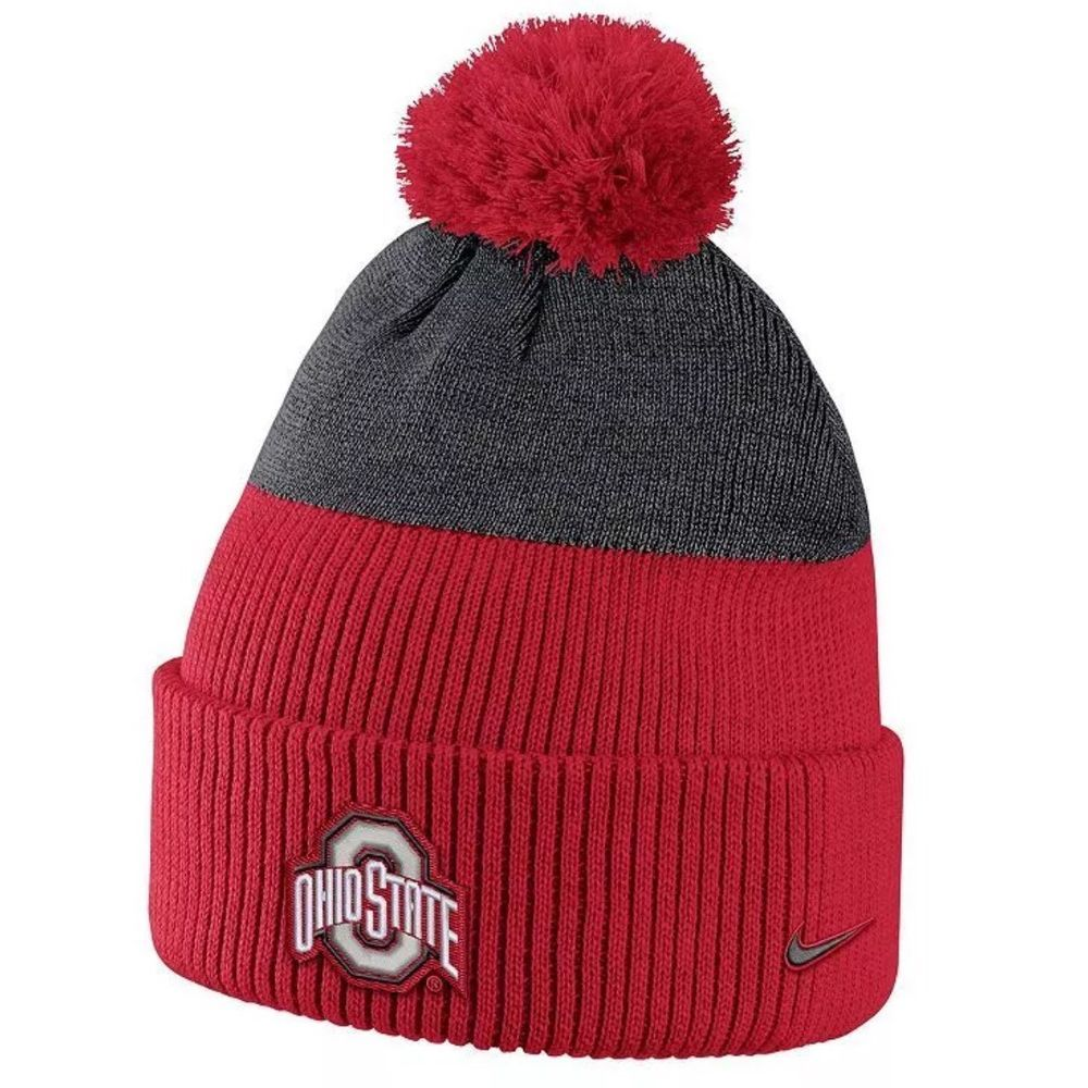 Ohio State Buckeyes Nike NCAA New Day Cuffed Winter Cap With Pom Toboggan  Hat  Nike  OhioStateBuckeyes 7e24aed0c