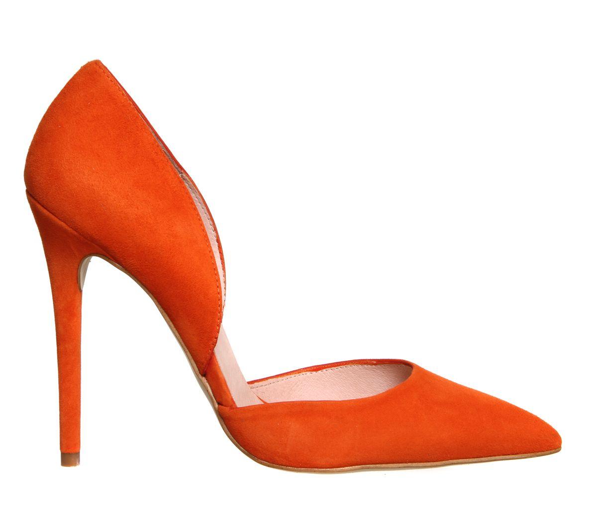 Office Panther 2 Part Court Orange Suede High Heels