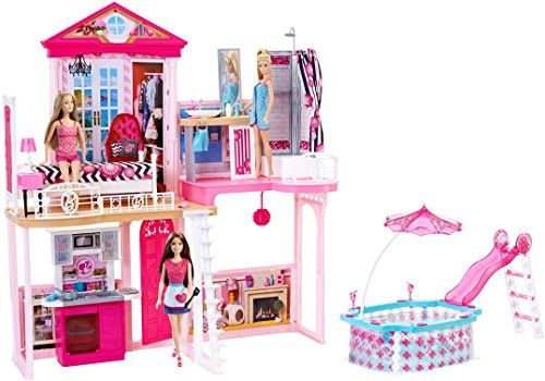 Perfect Barbie Dream House U0026 Pool Gift Set With Three Dolls 31 Inches Tall