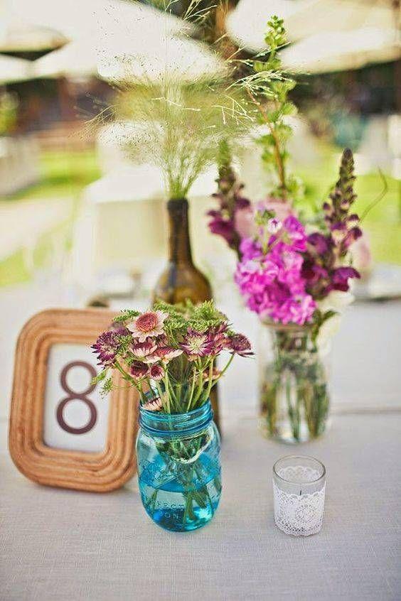 Centro De Mesa Casero Para Boda Eventos Casamiento Maxi Y Gaby Wedding Centerpieces Mason