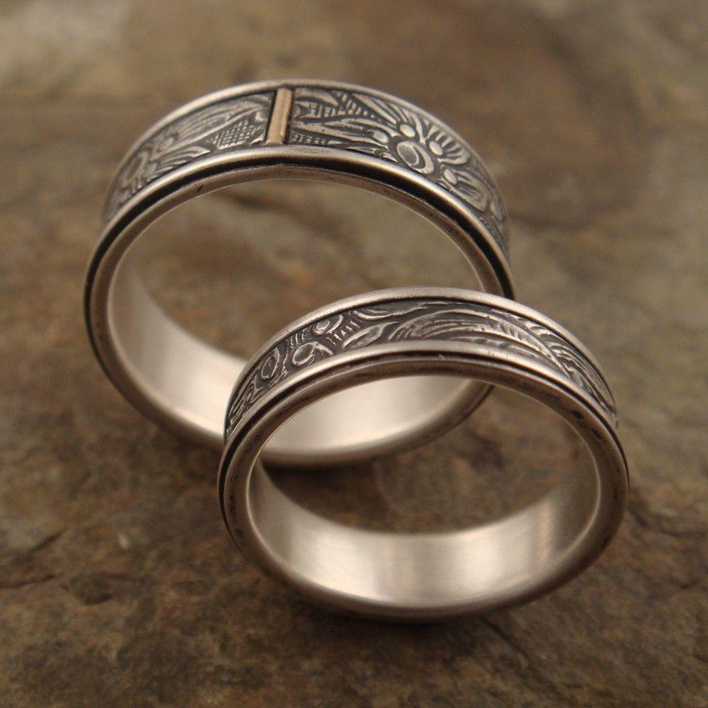 Mens Wedding Ring Set Womens Wedding Band Set Sunflower Sterling Silver Wedding Band 14k Gold Tab Womens Wedding Ring Mens Wedding Band