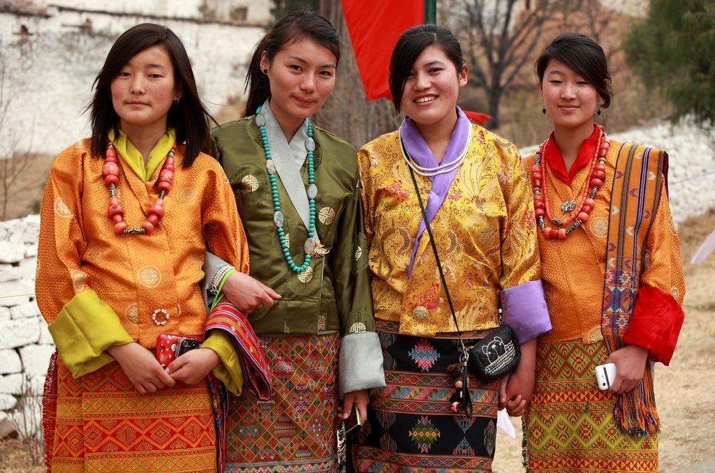 At Paro Festival Paro Bhutan Bhutanese Clothing National Dress Hula Dancers