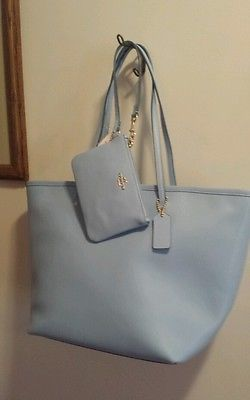 Nwt Coach Crossgrain Leather Taxi Zip Top Tote Bag And Wristlet Pale Blue
