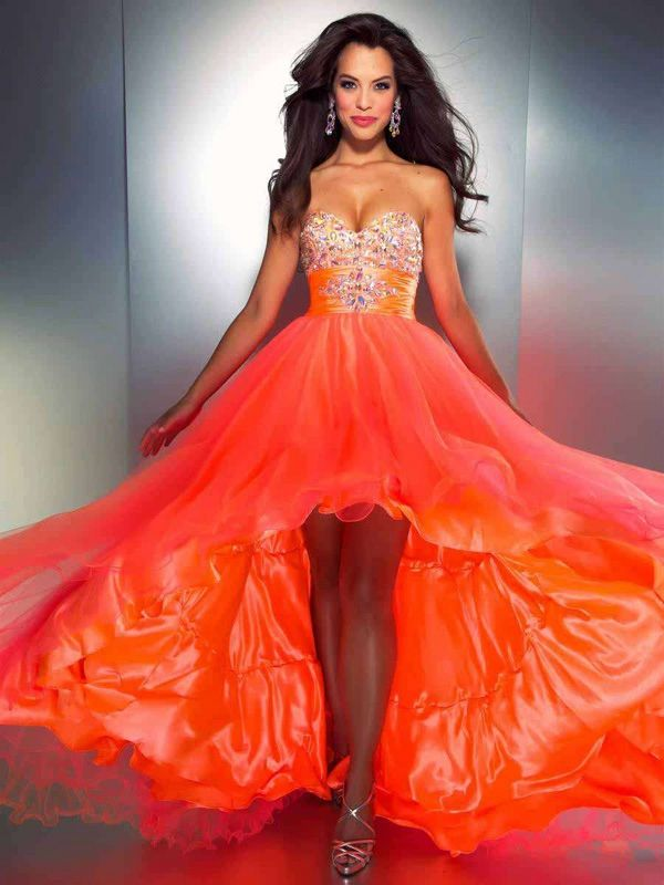 95d520f26762 Sweetheart Neckline Puffy Orange Organza High Low Prom Dresses With Diamonds