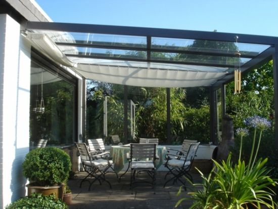mediterranean garden glass roof terrace shading outdorr dining,