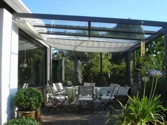 Mediterranean Garden glass roof terrace shading outdorr dining - garten terrasse uberdachen