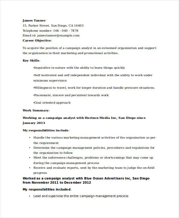 Samples Of Resumes Marketing Campaign Analyst Resume  Marketing Resume Samples For