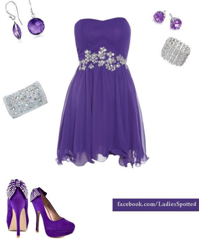 Purple cocktail dress | Go Global! | Pinterest | Combinaciones de ...