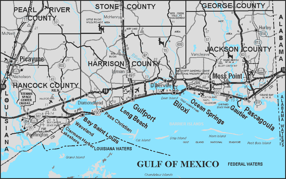 Mississippi Gulf Coast Map Of Mississippi Gulf Coast Cities And